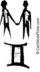 Primitive Zodiac Sign- Gemini - Primitive woodcut style...