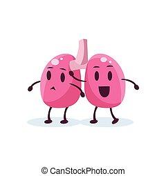 primitivo, carattere, stile, polmoni, cartone animato