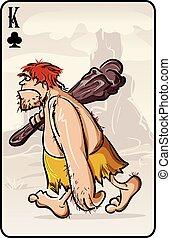 primitivo, carta da gioco, uomo