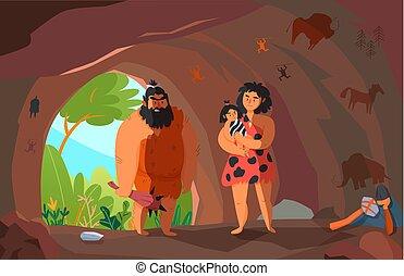 primitivo, cartone animato, illustrazione, persone