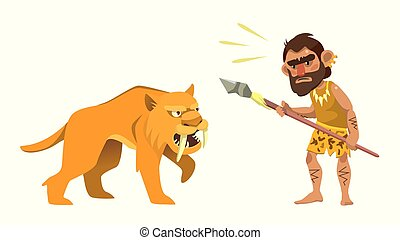 primitivo, cazador, y, saber-toothed, tigre