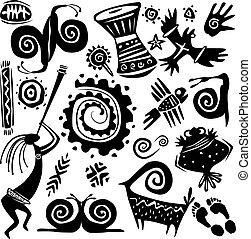 primitivo, elementos, arte, diseñar