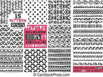 primitivo, jogo, prints., collection., tribal, modernos, seamless, padrões, vetorial, backgrounds., trendy, 8, geomã©´ricas, illustration.