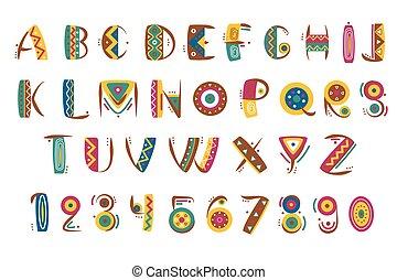 primitivo, mexicano, indio, tribal, font., ilustración, vector, números, carta, africano, o