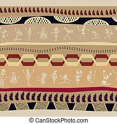 primitivo, persone, modello, mascherina tribale, seamless, silhouette