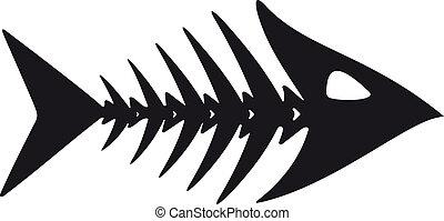 primitivo, pez, esqueleto