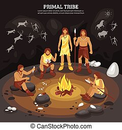 primitivo, tribù, illustrazione, persone