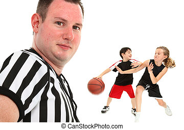 primo piano, bambini, pallacanestro, arbitro
