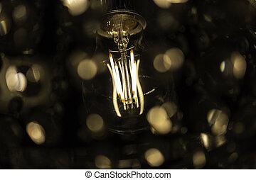 primo piano, bulbo, luce