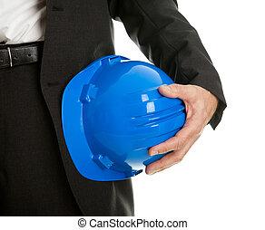 primo piano, cappello duro, architect/worker, presa a terra