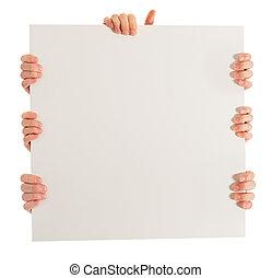 primo piano, cartellone, tenendo mano