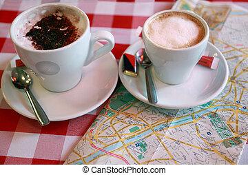 primo piano, checkered, leva piedi, caffè, due, tablecloth.,...