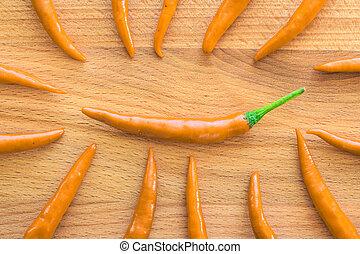 primo piano, cima, pepe, legno, fondo, arancia, peperoncino, vista