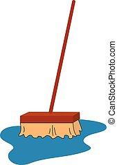 primo piano, clipart, colorare, rovesciato, mocio, illustrazione, correndo, vettore, pulizia, o, acqua