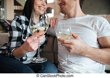 primo piano, colpo, di, occhiali, con, champagne