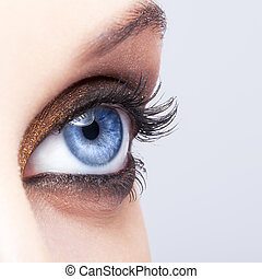 primo piano, colpo, di, occhio femmina, trucco