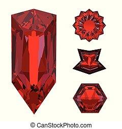 primo piano, cristallo, isolato, fondo., bianco, ruby red