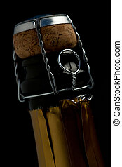 primo piano, di, bottiglia champagne