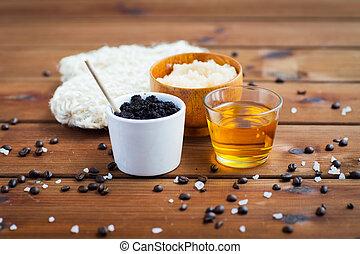 primo piano, di, caffè, strofinata, in, tazza, e, miele, su,...