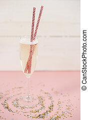 primo piano, di, champagne, con, cannuccia