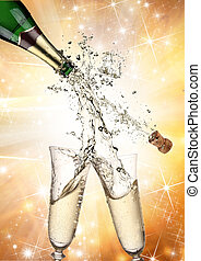 primo piano, di, champagne, esplosione