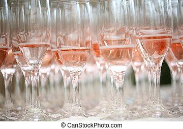 primo piano, di, champagne rosa, occhiali