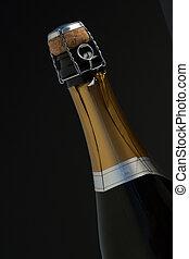 primo piano, di, cima, di, bottiglia champagne