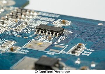 primo piano, di, circuito computer, scheda madre