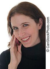 primo piano, di, donna sorridente, su, telefono cellulare