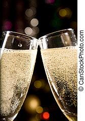 primo piano, di, due, bicchieri champagne
