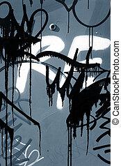 primo piano, di, graffito, su, parete