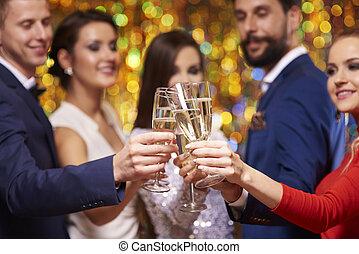 primo piano, di, occhiali, con, champagne