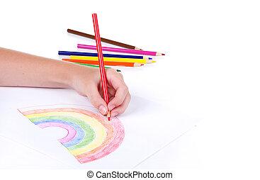 primo piano, di, ragazza, disegno, uno, arcobaleno