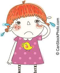 primo piano, di, ragazza, pianto
