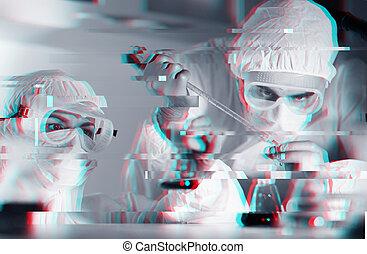 primo piano, di, scienziati, fabbricazione, prova, in, laboratorio
