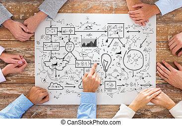 primo piano, di, squadra affari, indicando, piano