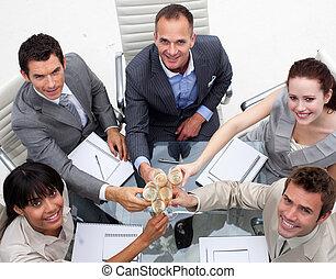 primo piano, di, squadra affari, tostare, con, champagne