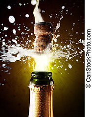 primo piano, di, sughero champagne, schioccare