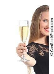 primo piano, di, uno, bella donna, tostare, con, champagne