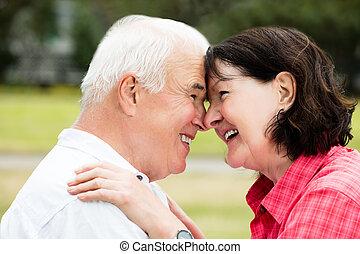 primo piano, di, uno, coppia felice