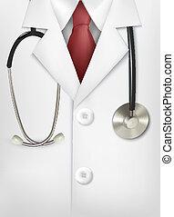 primo piano, di, uno, dottori, laboratorio, cappotto bianco,...