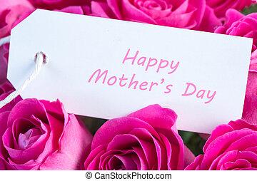 primo piano, di, uno, mazzolino, di, rose dentellare, con, felice, festa mamma, scritto, in, rosa, su, uno, scheda