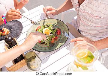 primo piano, di, uno, piastra, con, delizioso, insalata