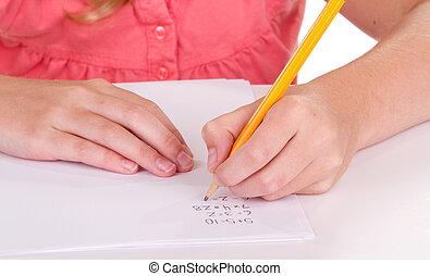 primo piano, di, uno, ragazza, fare, matematica, problemi