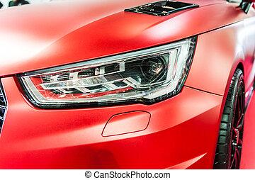 primo piano, di, uno, rosso, sport, macchina lusso