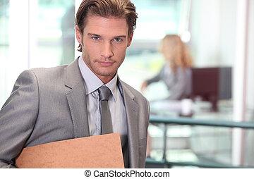 primo piano, di, uno, uomo affari