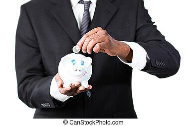 primo piano, di, uno, uomo affari, mettere, soldi, in, suo, banca piggy