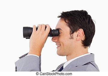 primo piano, di, uno, uomo affari, usando, binocolo