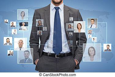 primo piano, di, uomo affari, sopra, icone, con, contatti