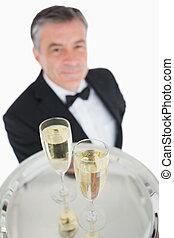 primo piano, di, vassoio, con, vetri champagne